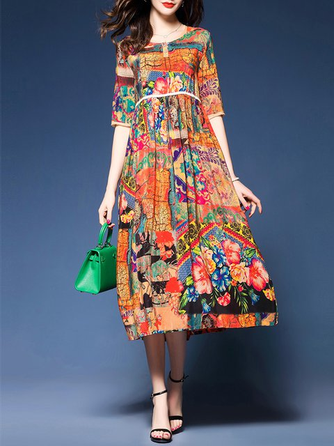 Women Daily 3 Multicolor 4 Casual A Dress Sleeve line Elegant AqwxEBCS