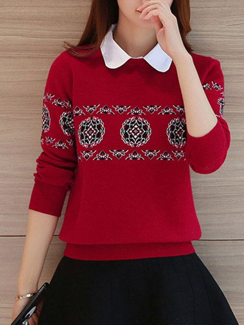 Casual Long Sleeve Knitted Floral Floral-print Sweater