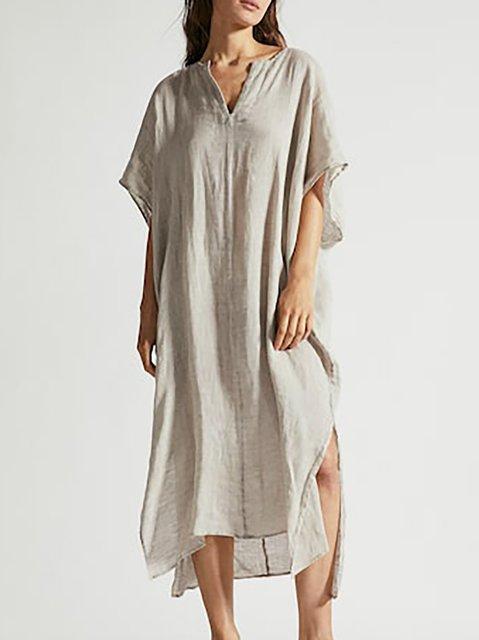 V neck Gray Shift Women Daily Casual Short Sleeve  Solid Summer Dress