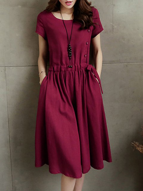 Women Daily Cotton Short Sleeve Paneled  Casual Dress