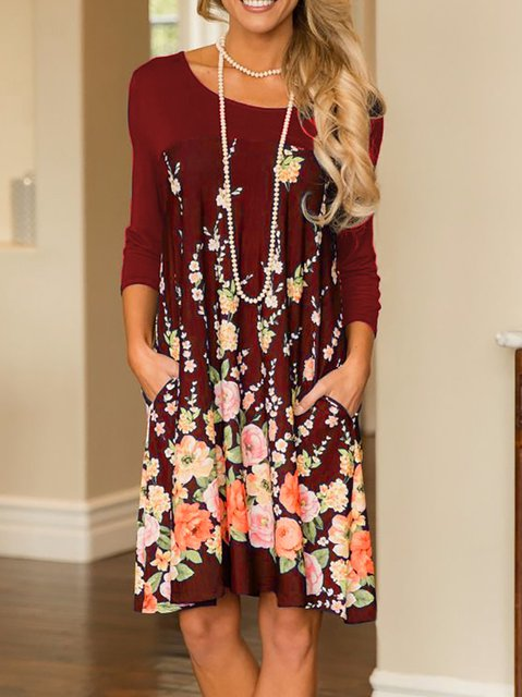 Daily Fall Floral Swing Sleeve Floral Women Dress print Casual Long FPU51nU
