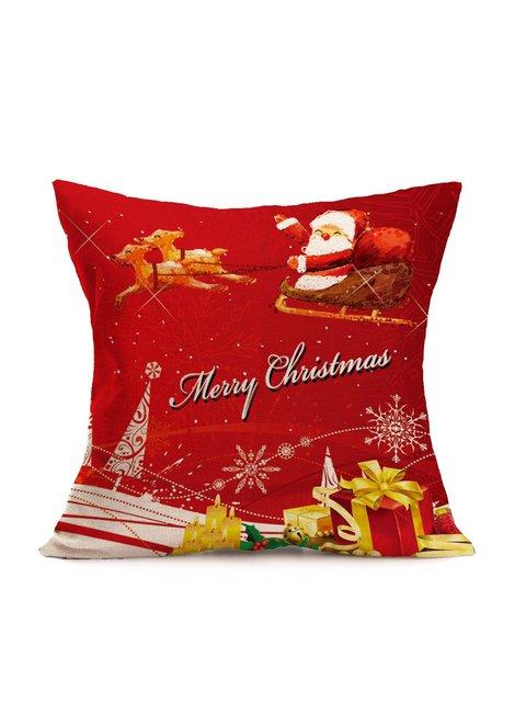 Christmas Superior Linen Cotton Pillow Cover Santa Xmas Home Decoration