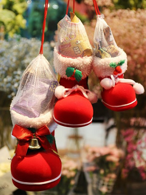 Candy Bags Tinkle Bell Decoration Christmas Boots Gift