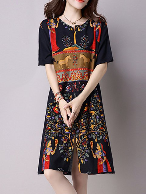 V neck Multicolor Shift Women Daily Half Sleeve Tribal Casual Dress