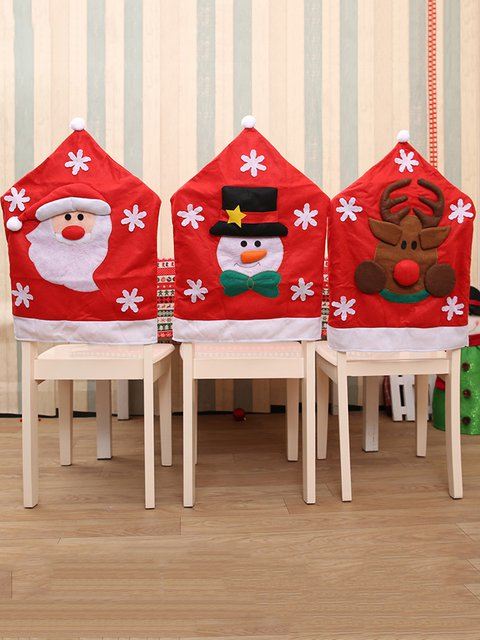 Santa Claus Reindeer Decoration Hat Shaped Christmas Chair Back Cover