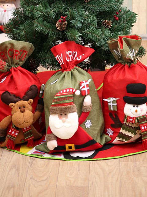 Christmas Plus size Snowman Santa Claus Reindeer Patchwork Xmas Gift Bag