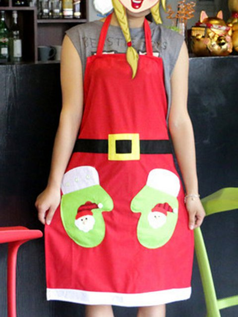 Red Gloves Patchwork Decoration Christmas Apron