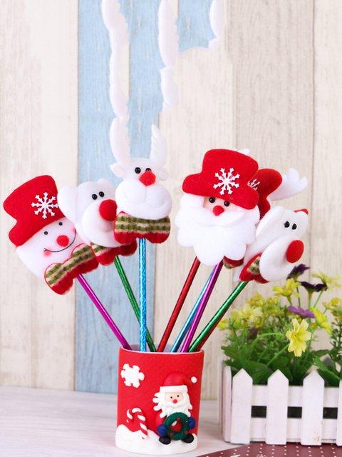 Reindeer Snowman Bear Santa Patchwork Decoration Pencil Christmas Gift