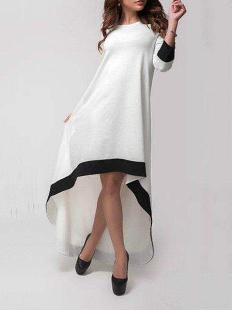 White Women Cotton Long Sleeve Asymmetric Plain Prom Dress