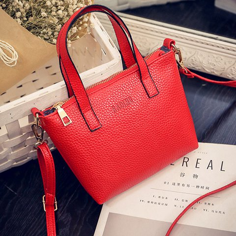 Women PU Leather Handbag Vintage Plain Crossbody Bag