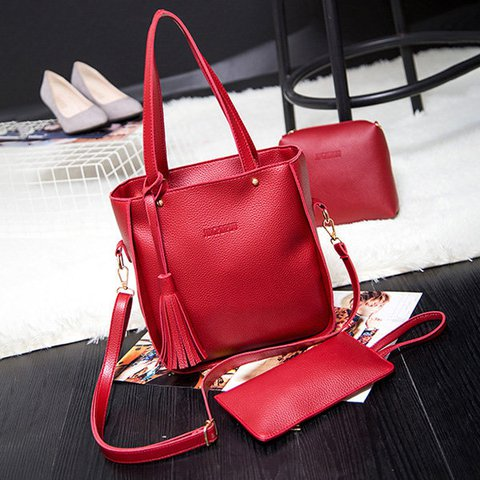 3 PCS Women PU Leather High-end Crossbody Bag Clutches Dual-use Handbags
