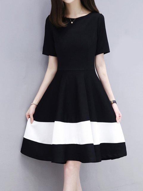 Black Swing Women Daily Casual Short Sleeve Color-block  Casual Dress