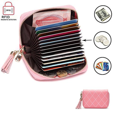 RFID Antimagnetic Woman Cow Leather Card Holder 15 Card Slots Wallet Purse