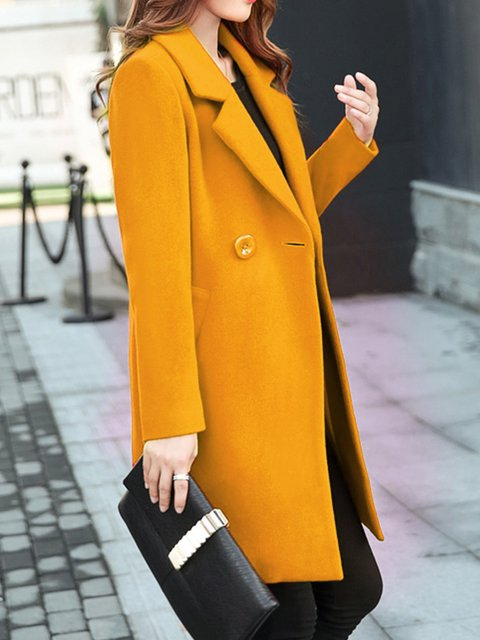 Women's Trench Coat Simple Fashion Candy Color Cardigan Slim All Match Mid-Long Woolen Coat