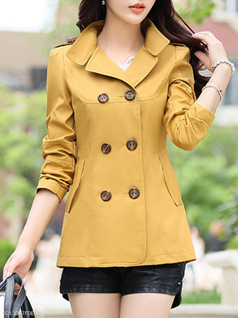Plain Sleeve Double Breasted Coats Collar Trench Fold Long Over BxqOx7