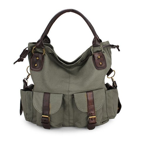 Women Multi-pocket Canvas Handbags Leisure Shopping Crossboody Bag