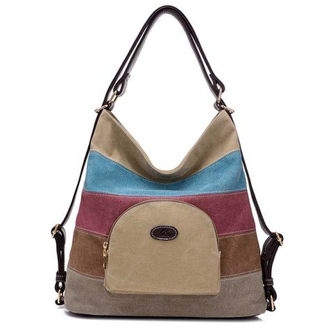 Women Casual Canvas High Capacity Color Blocking Joint Versatile Shoulder Bags Backpack