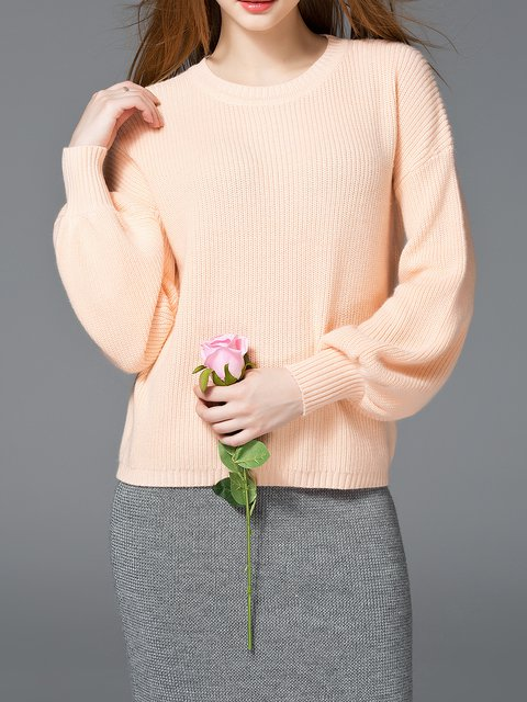 Knitted Balloon Sleeve Solid Sweater
