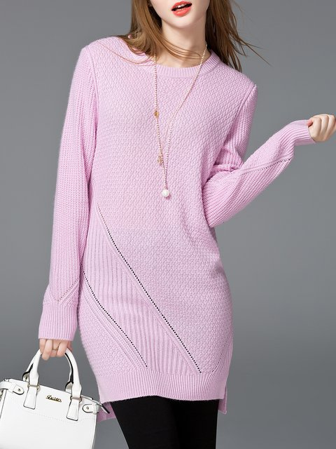 Simple Crew Neck High Low Solid Long Sleeve Sweater