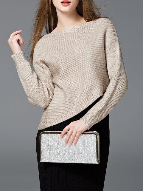 Slash Neck Solid Asymmetrical Sweater
