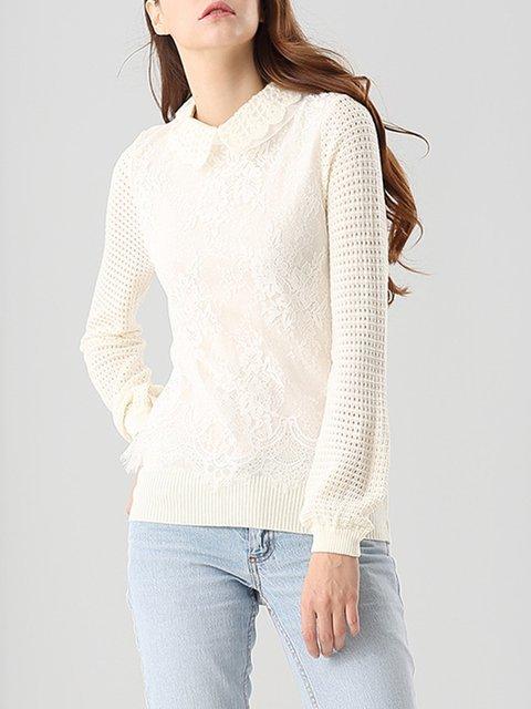 Peter Pan Collar Wool Blend Paneled Long Sleeve Sweater
