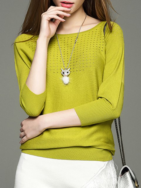 Pierced Basic 3/4 Sleeve Crew Neck Solid Sweater