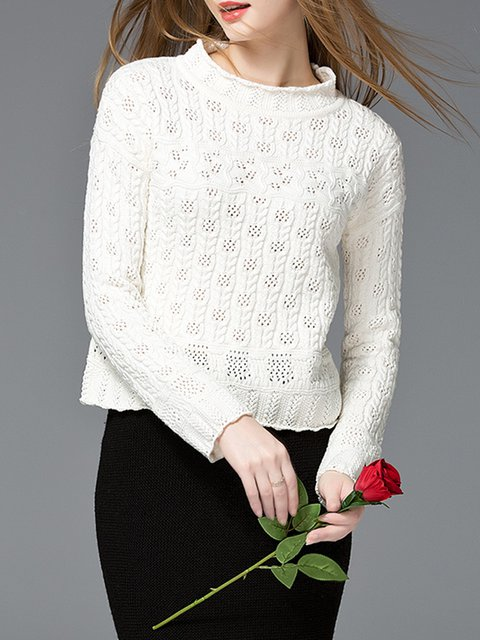 Pierced Girly Knitted Stand Collar Long Sleeve Sweater