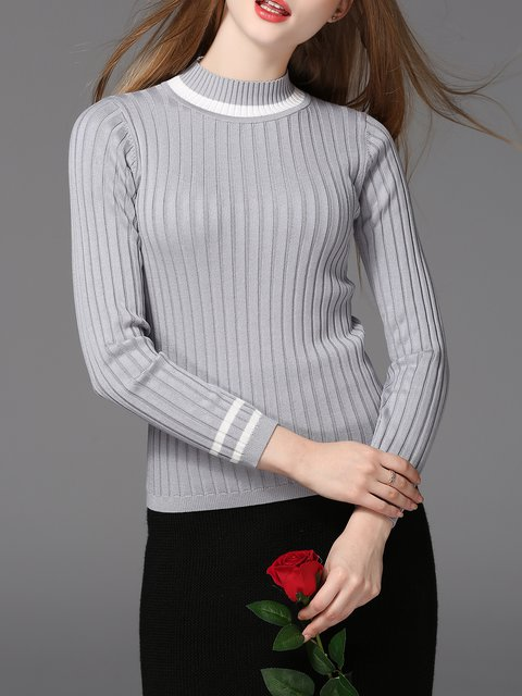 Long Sleeve Basic Knitted Stand Collar Sweater