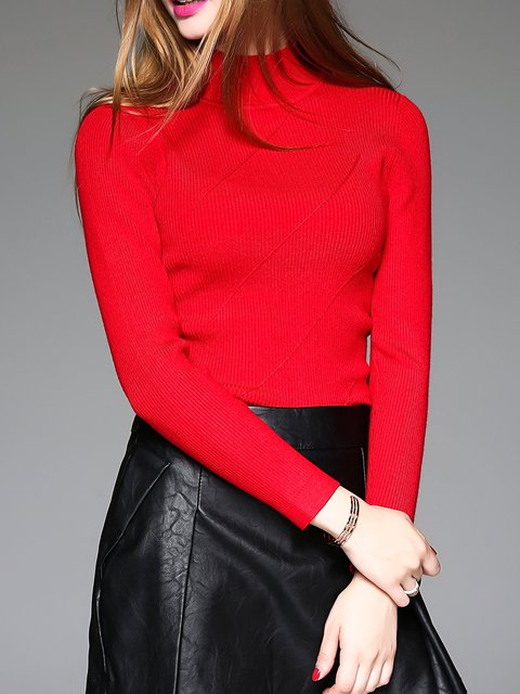 Basic Long Sleeve Knitted Turtleneck H-line Sweater