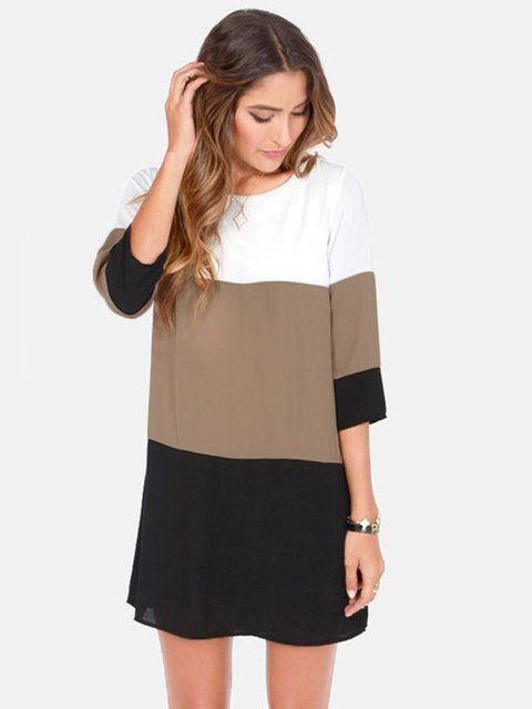Brown Color-block 3/4 Sleeve H-line Mini Dress