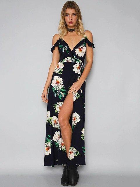 Floral-print Cold Shoulder Boho Wrap Dress