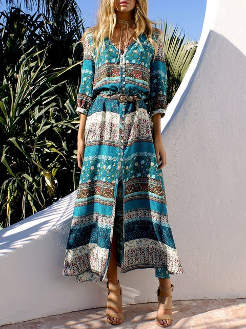 V neck  A-line Women Holiday Vintage 3/4 Sleeve Slit Tribal Floral Dress