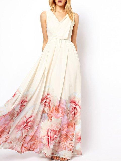 Surplice Neck White Swing Women Beach Boho Chiffon Floral-print Floral Prom Dress