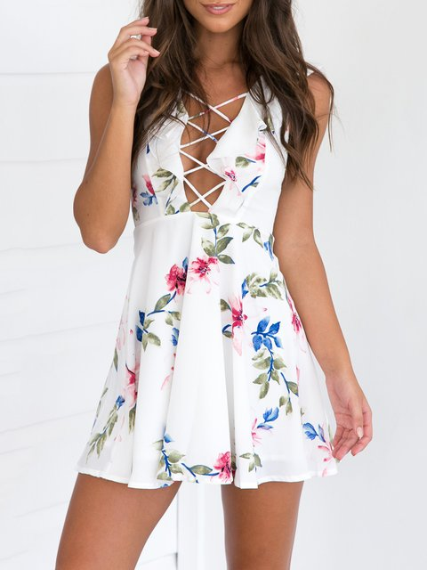 White Floral-print Lace Up Sexy Sleeveless Dress