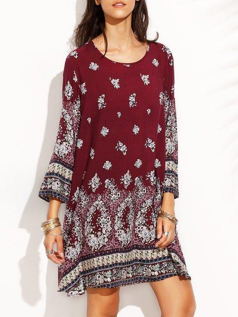 A-line Women Daytime Vintage Long Sleeve Printed Tribal Floral Dress