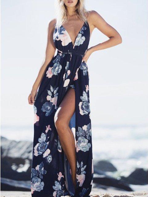 Crazy Seaside Criss Cross Back Plunging Slit Dress