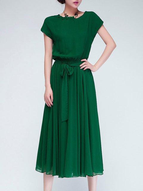 Swing Women Going out Elegant Short Sleeve  Solid Elegant Dress