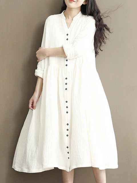 Stand Collar White A-line Women Daily Linen Long Sleeve  Solid Casual Dress
