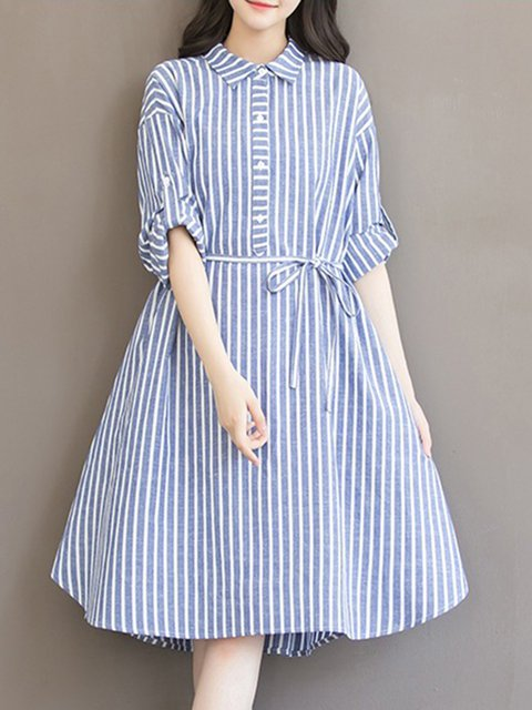 Shirt Collar Blue A-line Women Daily Cotton Half Sleeve Printed Striped Casual Dress