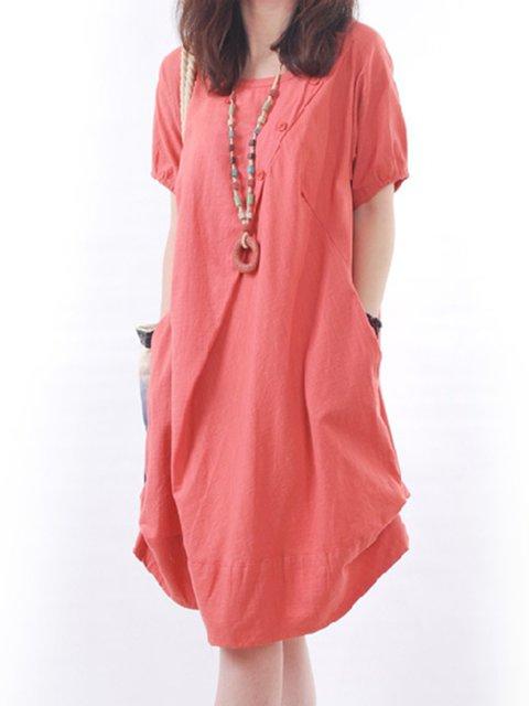 A-line Women Daytime Linen Short Sleeve Pockets Solid Casual Dress