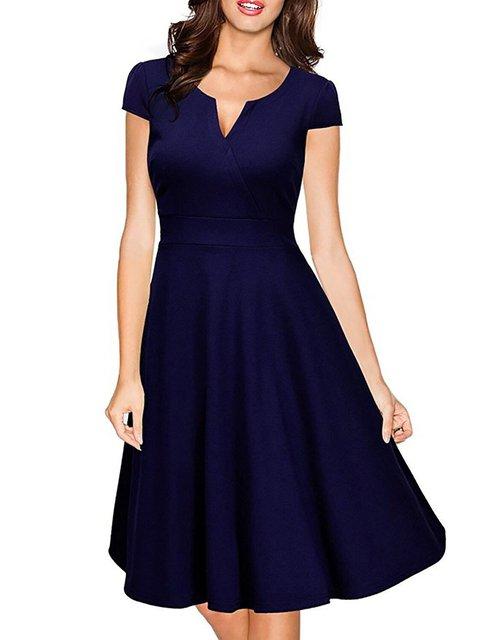 V neck Dark blue A-line Women Daytime Short Sleeve Elegant Cotton-blend  Solid Prom Dress