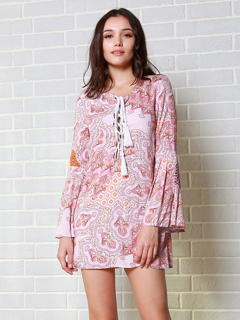 Pink Tribal Bell Sleeve Crew Neck A-line Dress