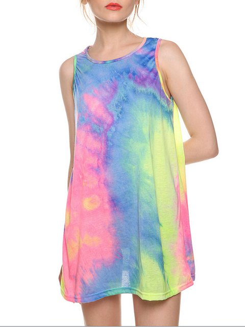 Multicolor Sleeveless Tie-Dye A-line Girly Mini Dress