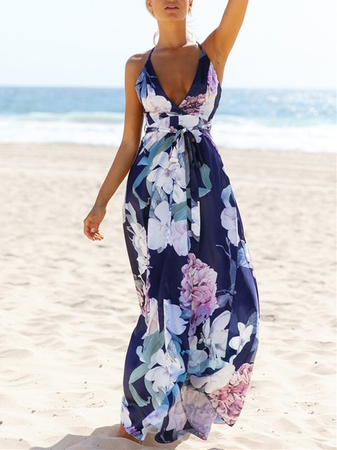 Plunging neck Navy Blue Swing Women Boho Spaghetti Floral Floral Dress