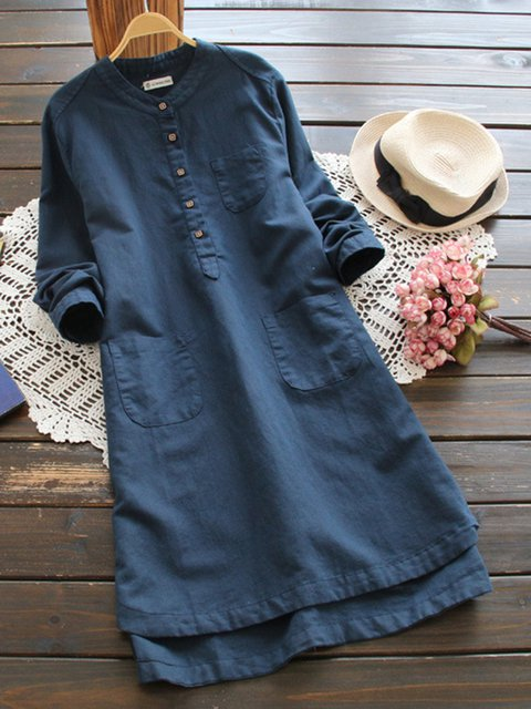 Stand Collar  A-line Women Casual Cotton Pockets Casual Dress