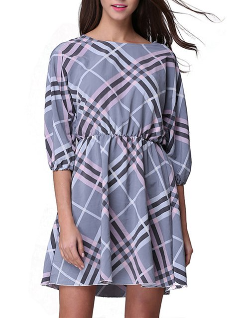 Multicolor Checkered/Plaid 3/4 Sleeve Mini Dress