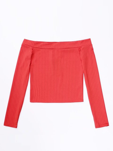 Solid Off Shoulder Long Sleeve Sweater