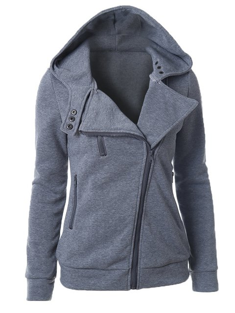 Zipper Casual Long Sleeve Solid Hoodie Winter Hoody