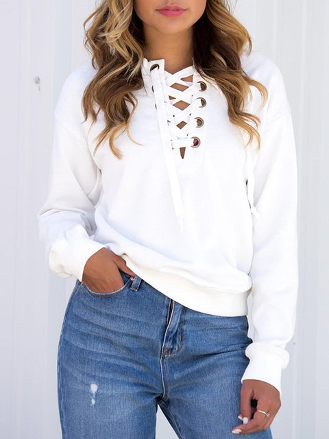 White Long Sleeve Lace Up Solid Sweatshirt