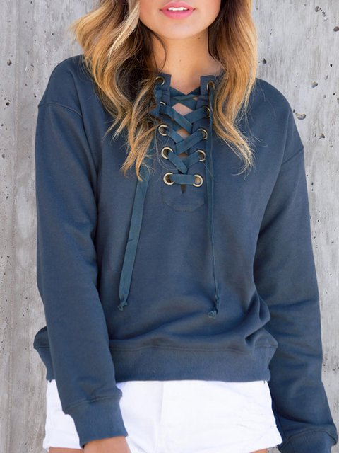 Deep Blue Solid Crew Neck Casual Sweatshirt